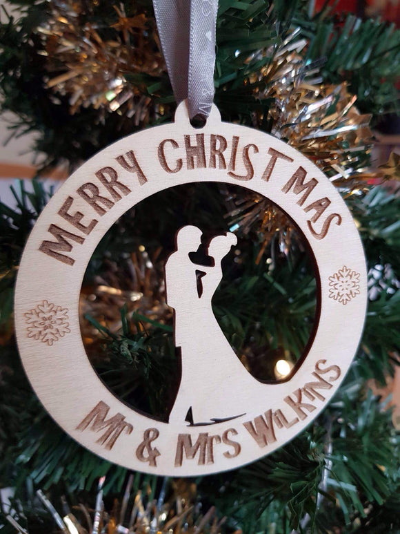 Merry Christmas Silhoutte Bauble Personalised