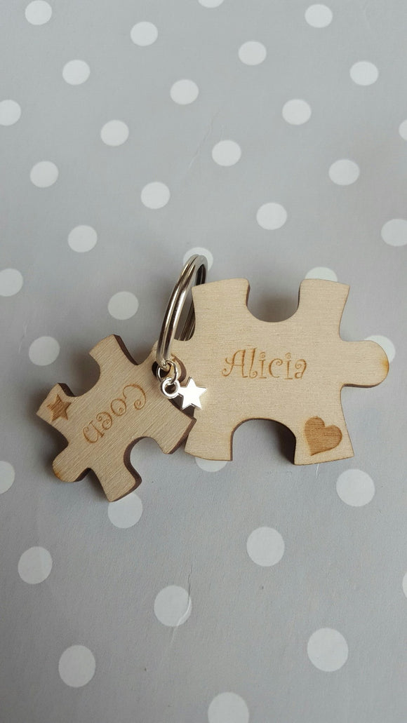 Two Piece Puzzle Keyring
