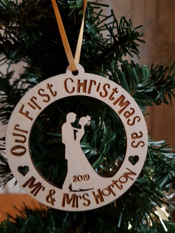 Our First Christmas Silhoutte Bauble Personalised