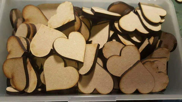 Plain 3cm Mdf Hearts 3mm Thick