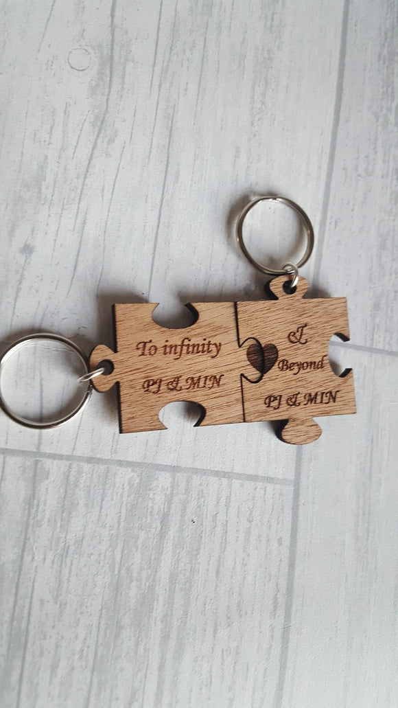 Square Jigsaw Piece keyring Set / His And Hers