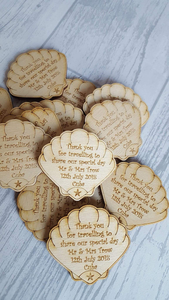 Abroad wedding favours, Clam Wedding Favours