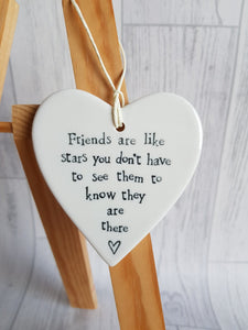 Friends are like stars, stars, ceramic heart, best friends