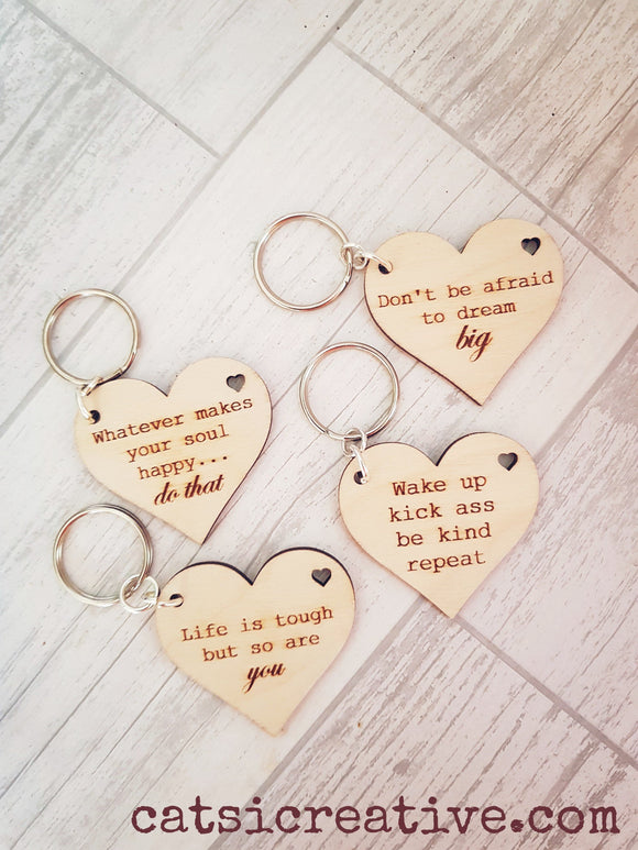 Inspirational Heart Keyrings
