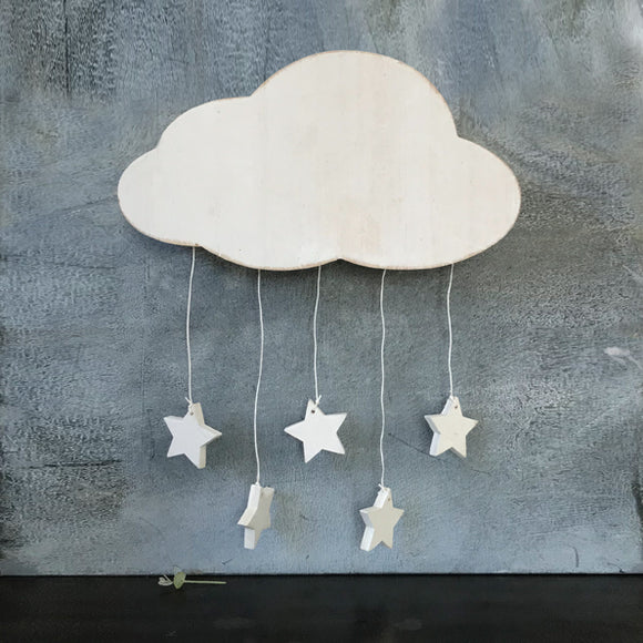 East of India - Baby - Wooden Cloud with Hanging Stars