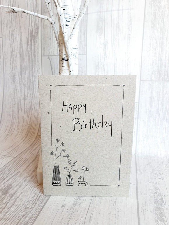 East of India - Ink Flower Card - Happy Birthday Card