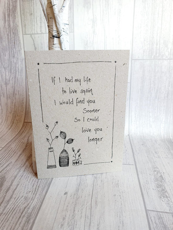 East of India - Ink Flower Card - If I Had My Life Again Card