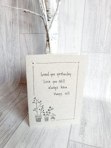 East of India - Ink Flower Card - Loved You Yesterday Card