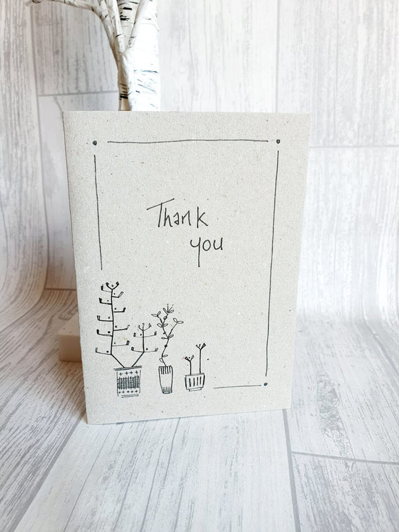 East of India - Ink Flower Card - Thank you Card