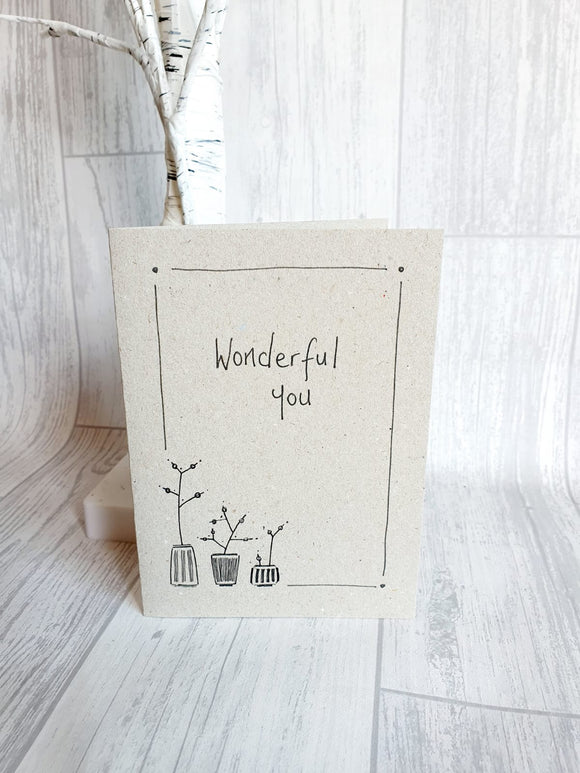 East of India - Ink Flower Card - Wonderful You Card