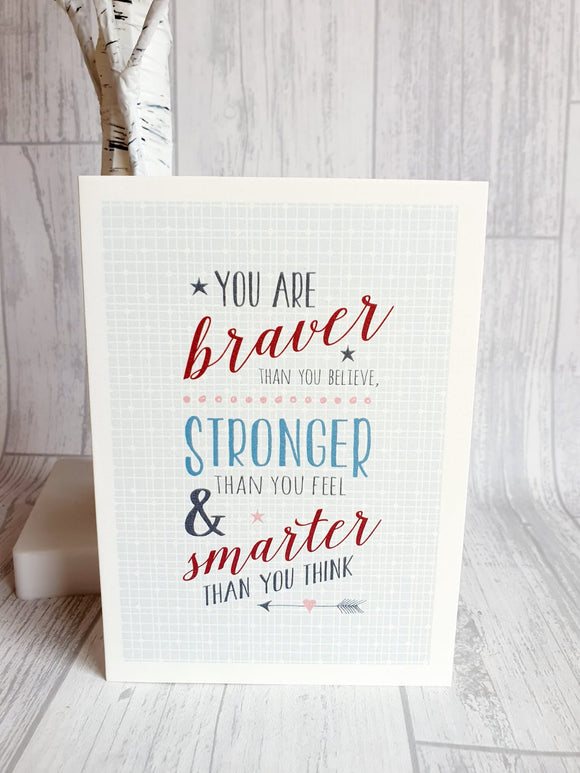 East of India - Type Card - You Are Braver Than You Believe Card