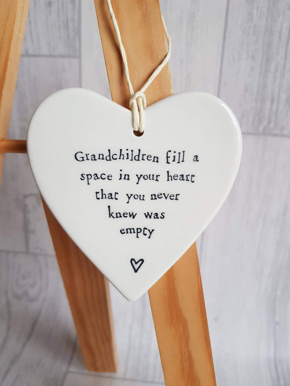 East of India - Ceramic Hanging Heart - Grandchildren Fill a Space