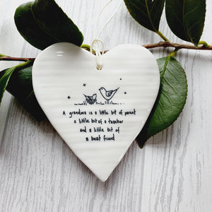 Ceramic Hanging Heart - A Grandma is a little bit