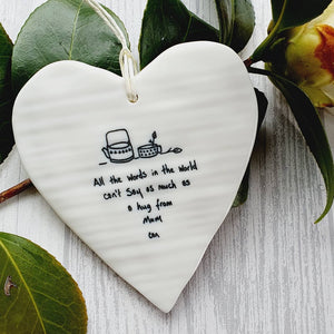 Ceramic Hanging Heart - All the words in the world