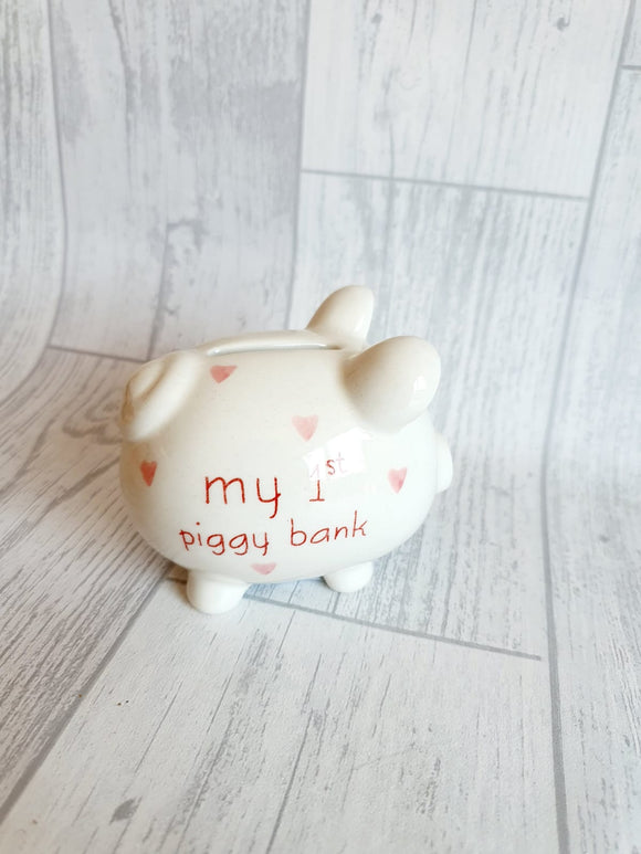 My 1st Piggy Bank / Money Box - Pink Hearts