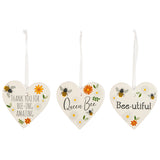 Ceramic Hanging Heart - Bee hearts