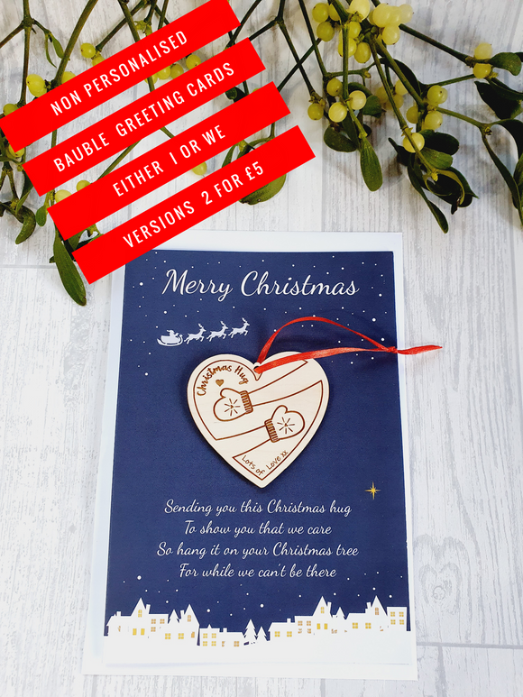 Non personalised bauble greeting cards 2 for £5