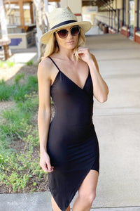 SHAKEN AND STIRRED RUCHED DRESS-BLACK - Infinity Raine