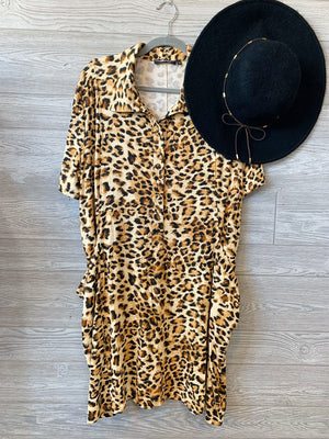 FEISTY FASHIONISTA LEOPARD DRESS-PLUS-TAUPE - Infinity Raine