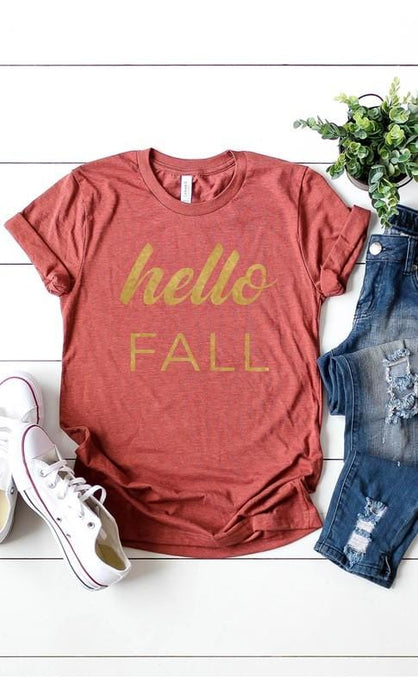 HELLO FALL TEE-HEATHER CLAY - Infinity Raine