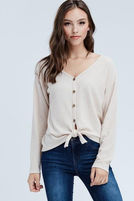 ENJOY YOUR DAY FRONT TIE TOP-TAUPE - Infinity Raine
