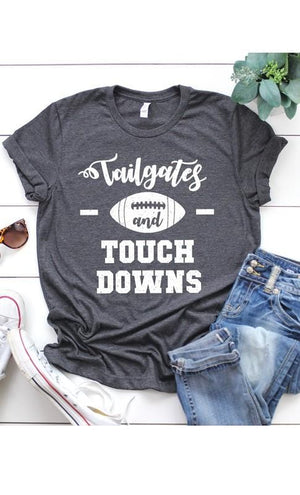 TAILGATES AND TOUCHDOWNS TEE-HEATHER CHARCOAL - Infinity Raine