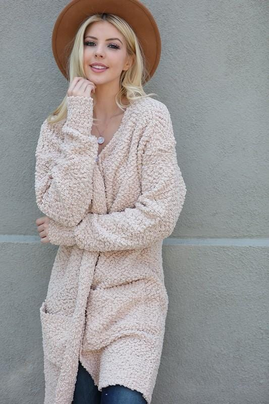 CHILL IT OUT OPEN CARDIGAN-TAUPE - Infinity Raine