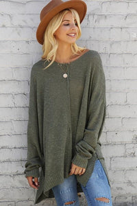 OLIVE V-NECK SWEATER TUNIC - Infinity Raine