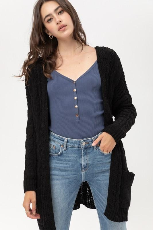 MY LOVELY DAY KNITTED CARDIGAN-BLACK - Infinity Raine