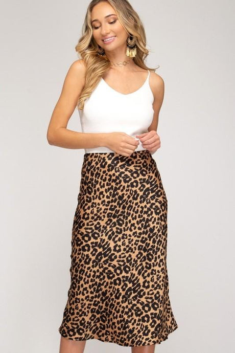 SOMETHING TO THINK ABOUT ANIMAL PRINT MIDI SKIRT-TAUPE LEOPARD - Infinity Raine