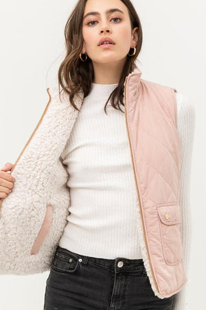CHANGE IS GOOD REVERSIBLE SHERPA VEST-BLUSH - Infinity Raine