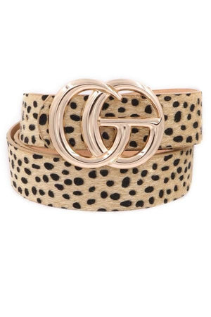 SOMETHING EXTRA  DOUBLE BUCKLE ANIMAL PRINT BELT-NATURAL - Infinity Raine