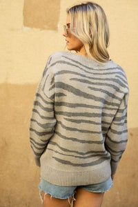 KEEP YOUR EYES ON ME TIGER PRINT PULLOVER SWEATER-GREY - Infinity Raine