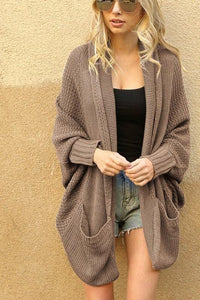 ALWAYS HERE FOR YOU SLOUCH DOLMAN CARDIGAN-EARTH GREY - Infinity Raine