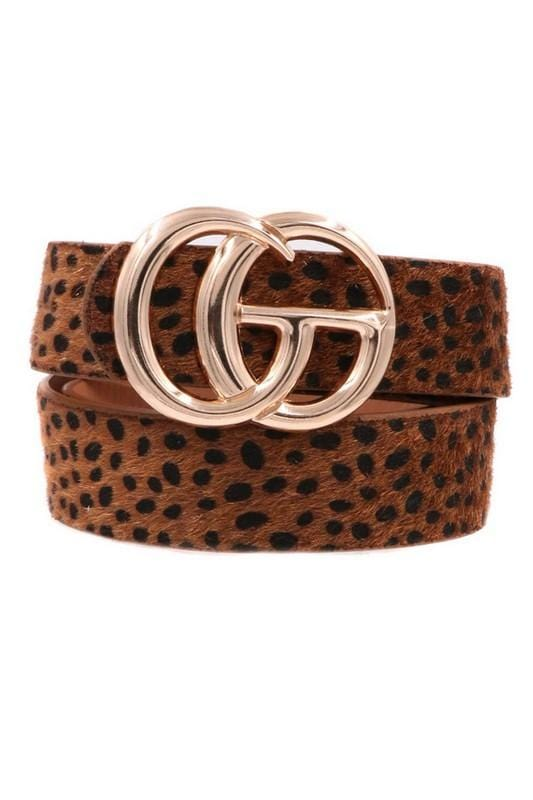 SOMETHING EXTRA  DOUBLE BUCKLE ANIMAL PRINT BELT-COGNAC - Infinity Raine