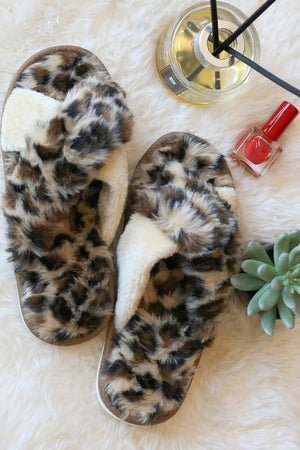 GET COZY FLUFFY ANIMAL PRINT SLIPPERS-LEOPARD - Infinity Raine