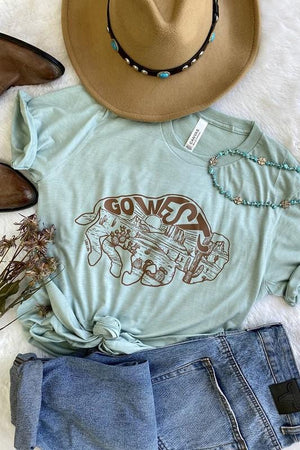 GO WEST DUSTY BLUE GRAPHIC TEE - Infinity Raine