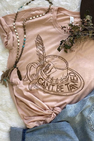 CAN'T BE TAMED HEATHER PEACH GRAPHIC TEE - Infinity Raine