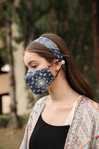 ALL YOU NEED HEADBAND AND FACE MASK BUNDLE-BLACK BANDANA - Infinity Raine
