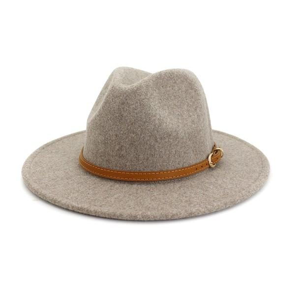 UNTIL NEXT TIME WOOL BELTED PANAMA HAT-LIGHT GRAY - Infinity Raine