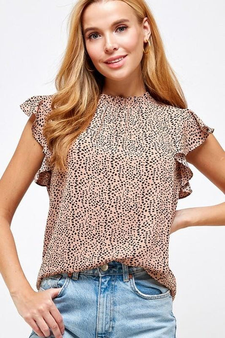 DISCOVER YOUR JOURNEY ANIMAL PRINT RUFFLE TOP-DUSTY PINK - Infinity Raine
