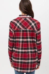 COZY BY THE CAMPFIRE FLANNEL TOP-RED - Infinity Raine