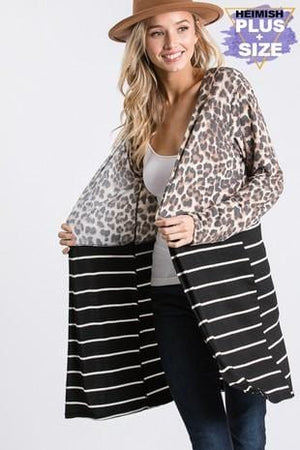 KEEP HER WILD ANIMAL PRINT CARDIGAN-LEOPARD/STRIPES - Infinity Raine