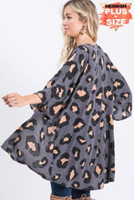 Load image into Gallery viewer, LET'S GET CRAZY PLUS SIZE LEOPARD CARDIGAN-CHARCOAL - Infinity Raine