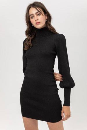 JUST ABOUT FABULOUS METALLIC PUFF SLEEVE SWEATER DRESS-BLACK - Infinity Raine