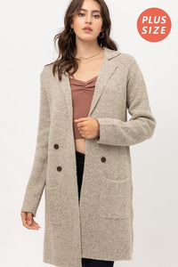 PLUS SIZE IN OUR COMFORT ZONE TWO TONED LONG CARDIGAN-OATMEAL - Infinity Raine