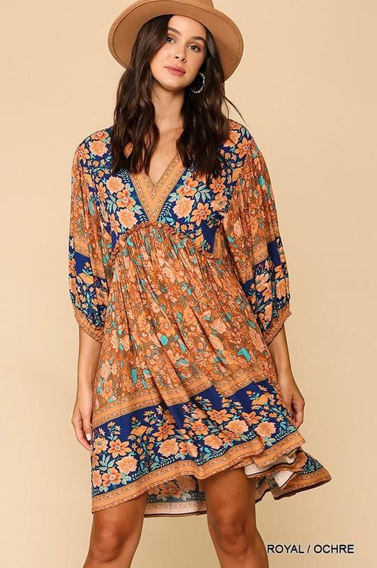 CATCHING SUNSETS FLORAL BOHO DRESS-RUST AND ROYAL BLUE - Infinity Raine