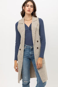 IN OUR COMFORT ZONE TWO TONED LONG VEST CARDIGAN-OATMEAL - Infinity Raine