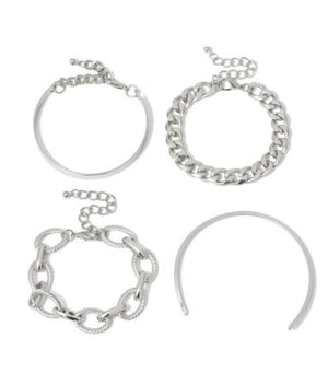 YOU'VE GOT IT ALL CHAIN BRACELET SET-SILVER - Infinity Raine