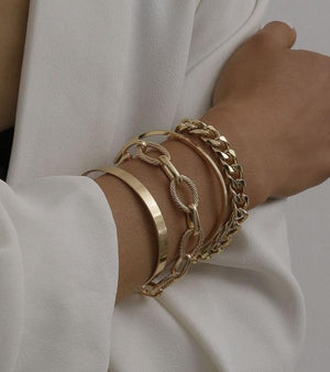 YOU'VE GOT IT ALL CHAIN BRACELET SET-GOLD - Infinity Raine